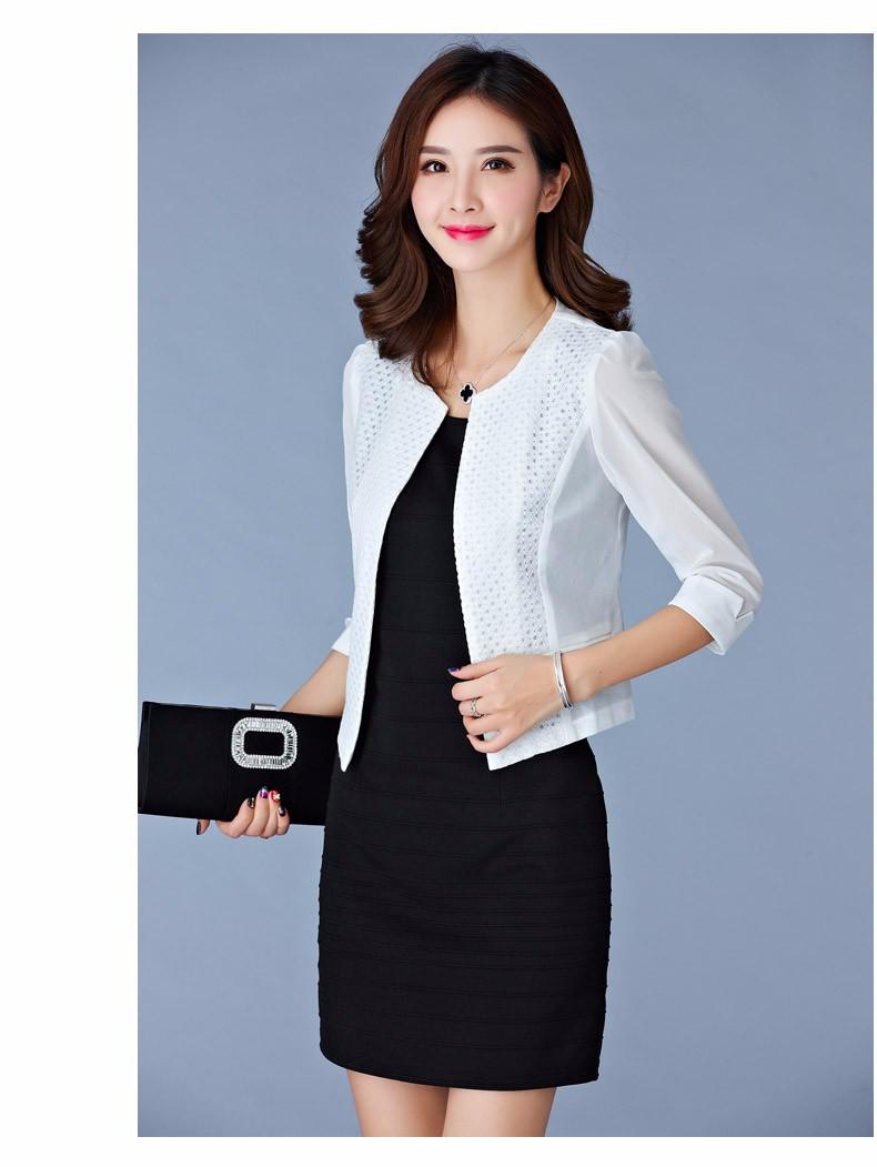Women Black White Gauze Jacket Summer 2016 Chiffon Cardigan Sexy 34 Sleeve Plus Size Slim Jackets Office Lady Coat Tops A385  d