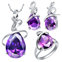 NEW white gold set of purple crystal suit 925 sterling silver set of foreign trade new stone necklace
