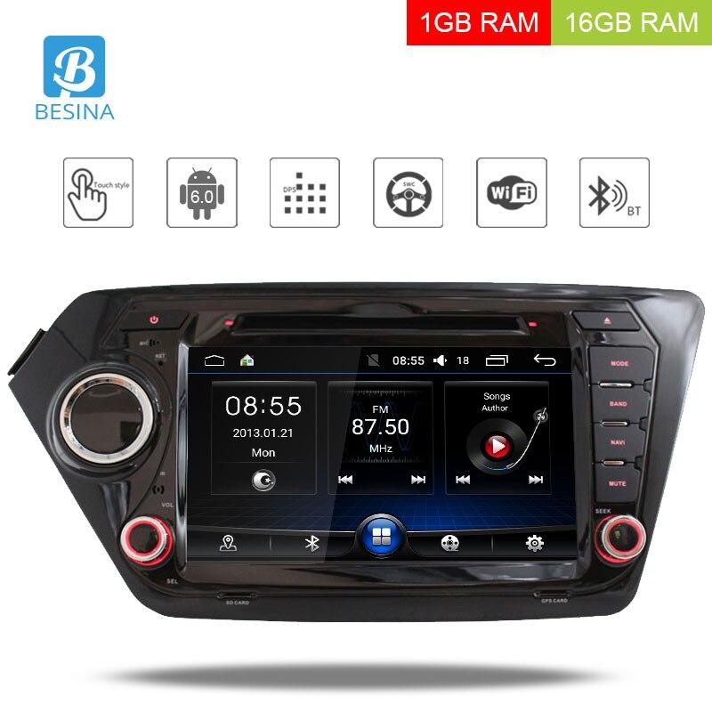 Besina 2 Din Android 6.0 Car DVD player per Kia k2 RIO 2010 2011 2012 2013 2014 2015 WIFI Stereo GPS Radio Multimediale Autoaudio