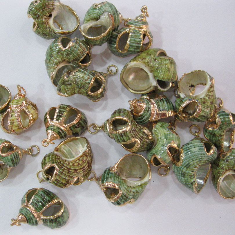 Golden Conch Beach Sea Shell Beads Loose Gold Silver Cowry