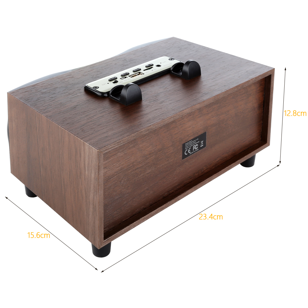 Retro Wooden Wireless Speaker Dual Bass stereo Altavoz Support U-disk FM radio Bluetooth Speakers for iPhone Android 3