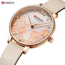 CURREN Ladies Watch Pink Flower Dial Quartz Leather Wristwatch Relogio Feminino Casual Rose Gold Analog Watches Women Dress Gift