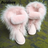 Hot Sale Pink Fur Keep Warm Cotton Shoes Winter Boots Rubber Sole Flat Bottom Snow Boots