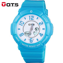 OTS 2017 New Fashion&Causal Womens Candy Colors Round Dial Quartz Watches femmes montres Waterproof Females Gifts Wristwatches