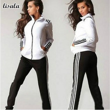 Women's Two-pices Casual Tops Sweatshirt Track Pants Sweat Suits Tracksuit