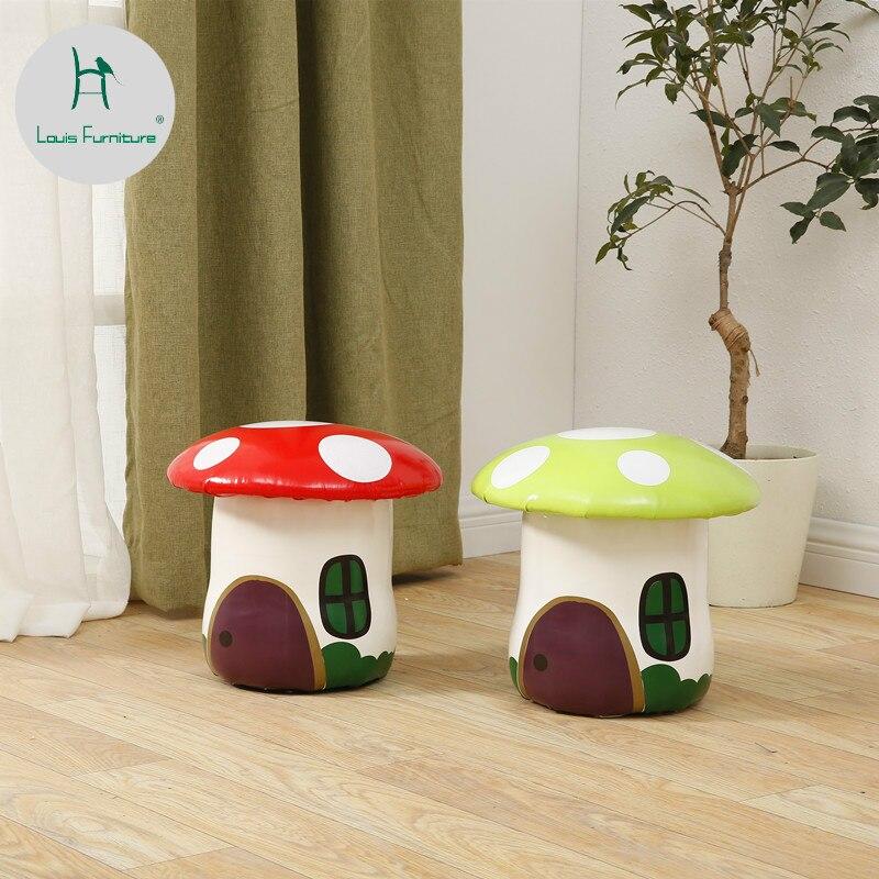 Louis Fashion Stools Ottomans Creative Mushrooms Cartoon Children Change Shoes Solid Wood Modern Simple