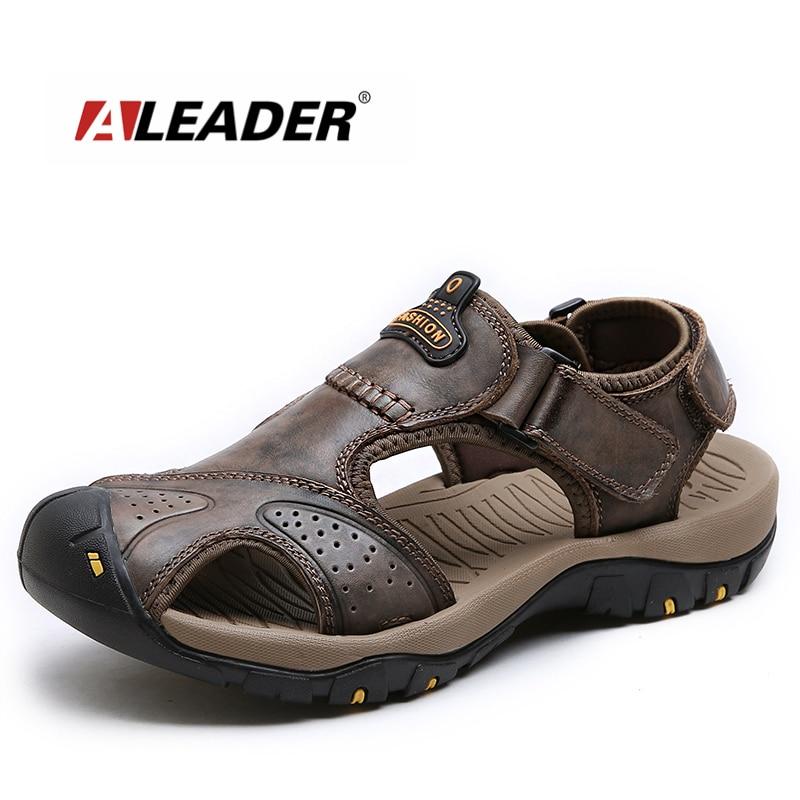 Aleader 2017 Casual Men Beach Sandals Summer Leather Shoes Breathable Outdoor Men Sandals Comfortable Designer Shoes