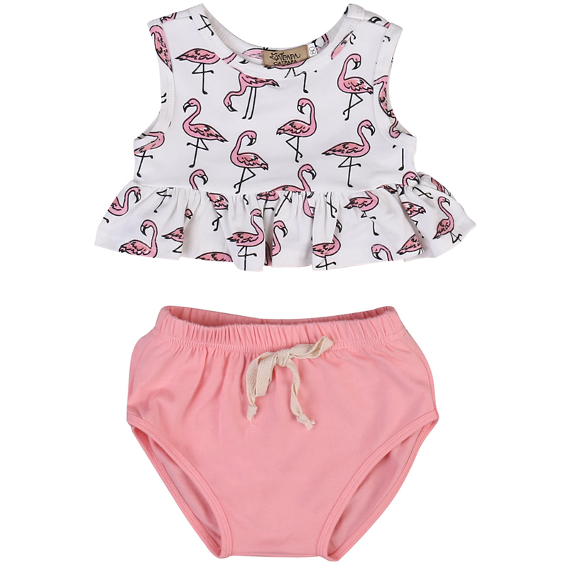 2017 New Summer Newborn Infant Baby Girl Clothes Animal Sleeveless Tops Bottom Outfits Set 0-18M