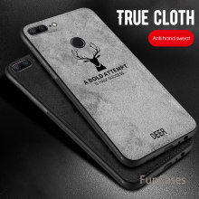 Slim Embossed Soft Deer Cloth Phone Case For Huawei Honor 8X Max 10 8 Lite 8C Retro Skin Fabric Cover For Huawei P Smart Plus(China)
