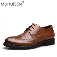 MUHUISEN Spring Autumn Mens Shoes Dress Sales Genuine Leather Black Brown Fashion Oxford Formal Business Male
