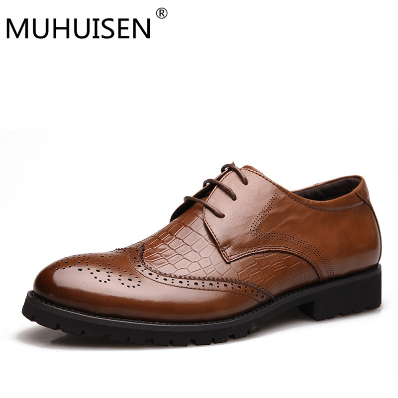 MUHUISEN spring autumn mens shoes dress sales genuine leather black brown fashion Oxford formal business male shoes Black, brown top quality crocodile grain black oxfords mens dress shoes genuine leather business shoes mens formal wedding shoes