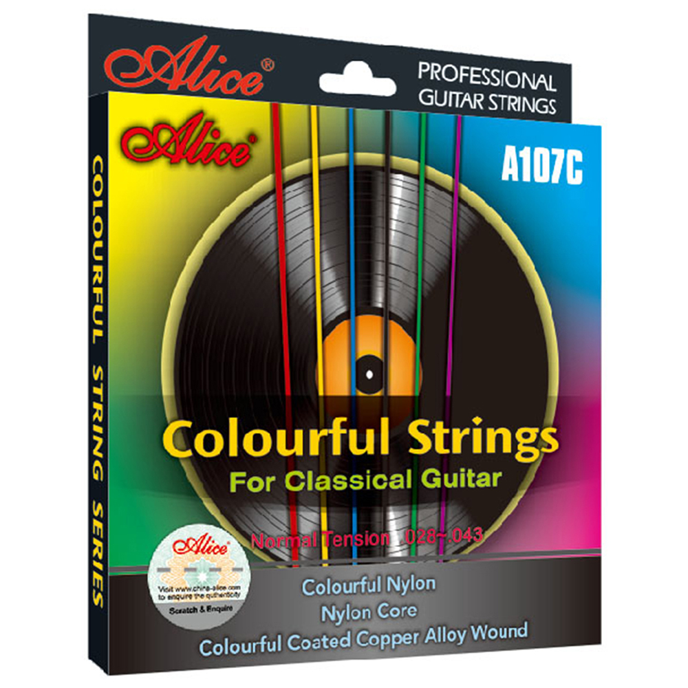 Colorful Classical Guitar Strings Nylon Coated Copper Alloy Wound 0285/044 Alice A107C alloy classical guitar capo black silver