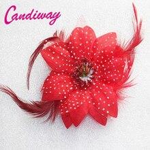 2017 Vermelho Prendedor de Cabelo Da Moda Bonito Mulheres Meninas Crianças Grampos de Cabelo Barrette Cabelo usar Acessórios Para o Cabelo Headband Da Flor Do Casamento Decoração