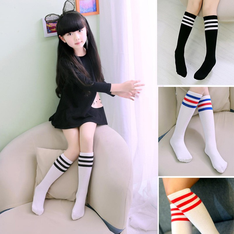 Autumn/Winter Kids Knee High Socks Girls Boys Strips Cotton Old School White Socks Children Sock Boots Baby Long Leg Warmer