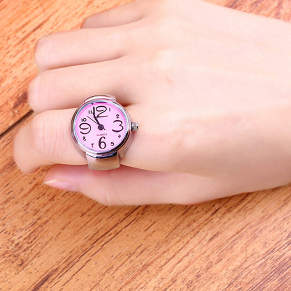 Women's Girls' Sleek Steel Round Dial Elastic Creative Quartz Finger Ring Watch