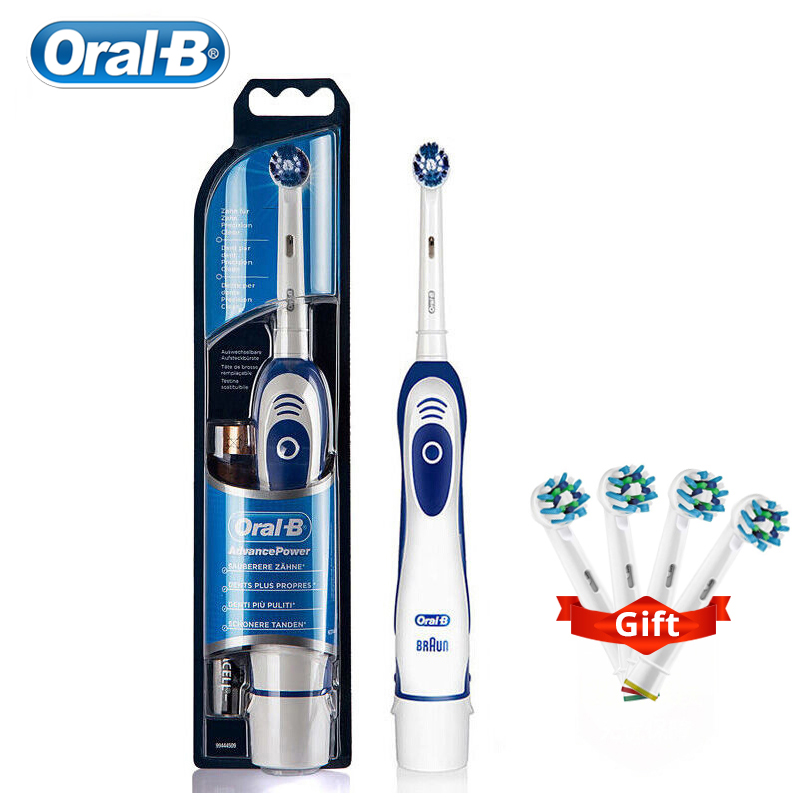 Oral B Adult Electric Toothbrush Oral Hygiene Teeth Brush Battery Powerd with 4 Gift Brush Heads image