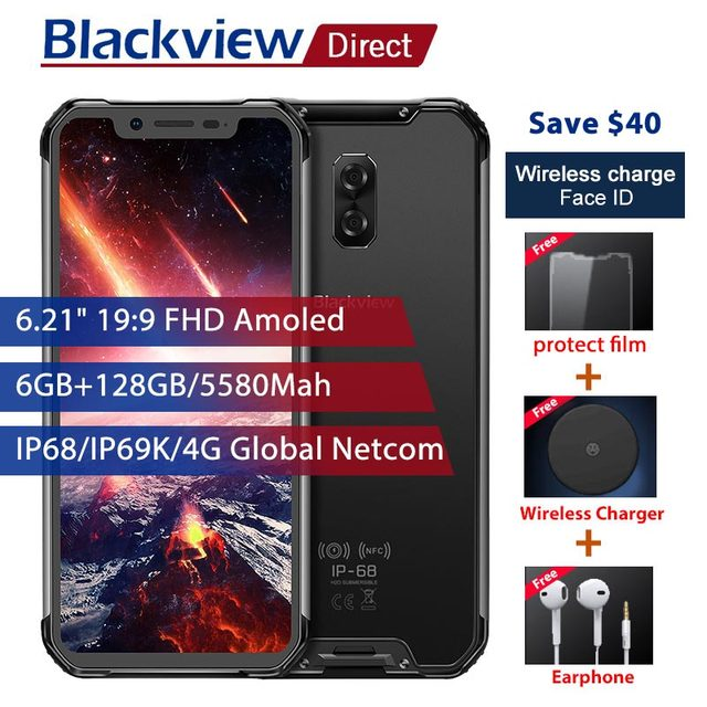 "Blackview BV9600 Pro IP68 Waterproof Mobile Phones 6GB+128GB 6.21"" 19:9 FHD AMOLED 5580mAh Android 8.1 Rugged Smartphone NFC OTG"