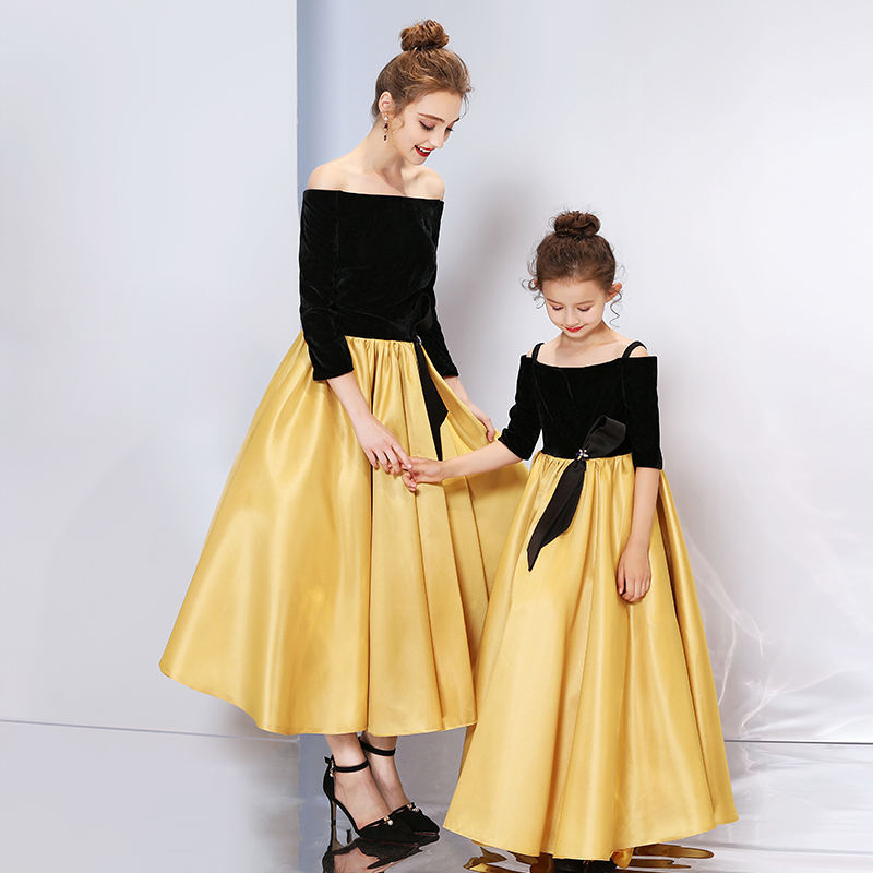 Mother Daughter Dresses Wedding Ball Gown Off Shoulder Golden Color Tutu Skirt Mommy and Me Clothes Family Look Matching Outfits - 2