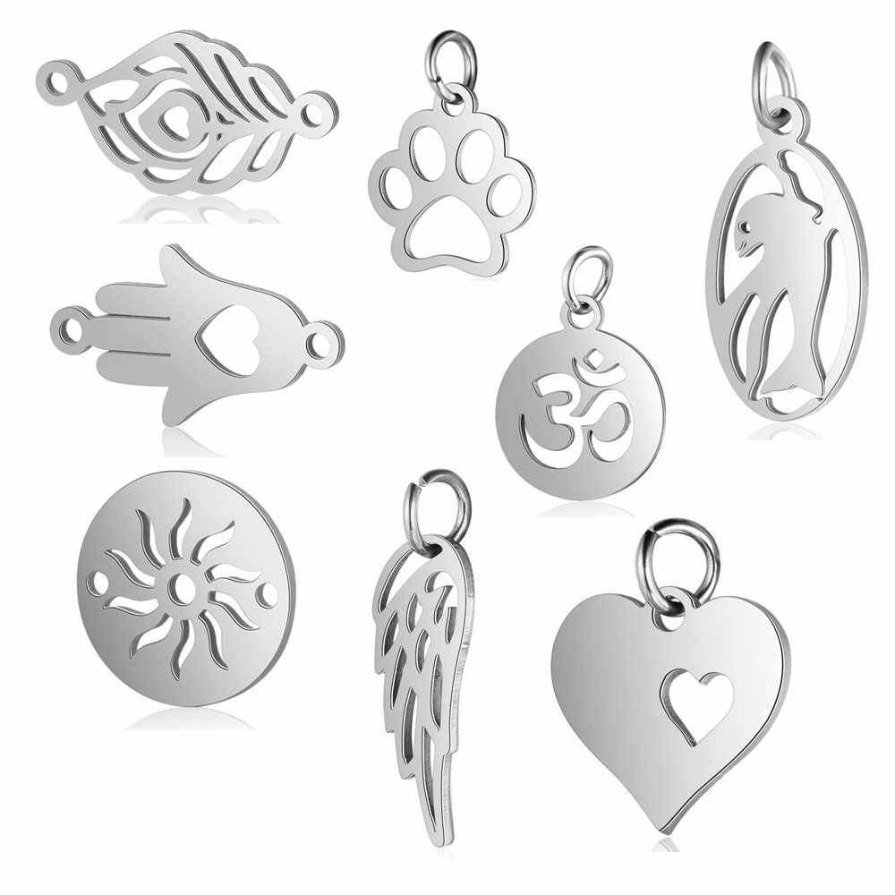 5pcs/lot 100% Stainless Steel Dog Paw Angle Wing Charm Wholesale Dolphin Sun Connector Lotus Heart DIY Charms for Jewelry Making