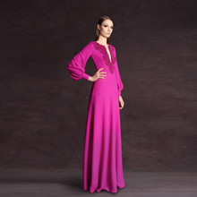 купить real photos Robe De Soiree 2016 Long Sleeve Evening Dress Deep V Neck Floor Length Beaded Elegant Dubai Kaftan Long Prom Dress по цене 8467.06 рублей