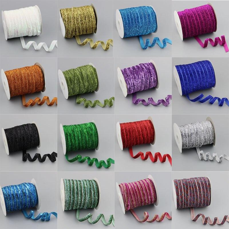 5yard/lot 3/8 «блеск металлизированными блестками ленты бархатные ленты повязка клипы Лук Свадебная вечеринка вечерние украшения 1 см
