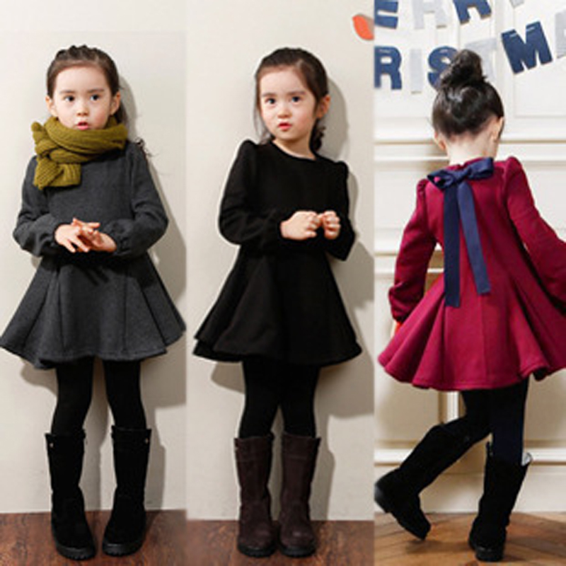 2 3 4 5 6 7 8 Years Girls Dress 2018 New Thick Velvet Winter Spring Kids Clothes Ruffles Long Sleeve Children Princess Clothing children s spring and autumn girls bow plaid child children s cotton long sleeved dress baby girl clothes 2 3 4 5 6 7 years