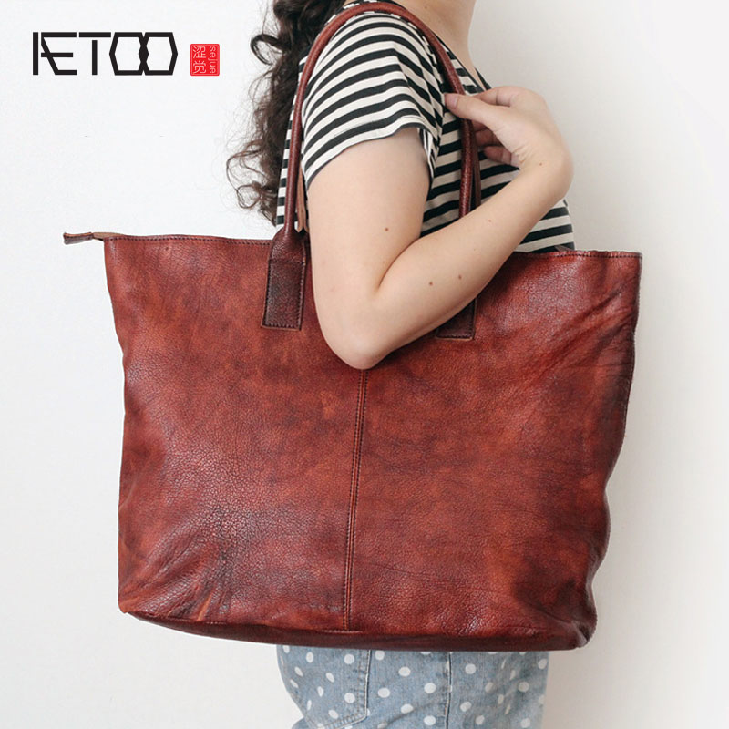 AETOO Original new leather handbag handbag retro large-volume washing hand-color package aetoo 2017 new 100
