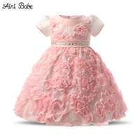 Flowers Baby Frock Designs Newborn Baby Girl Baptism Gown Tutu First Birthday Dress For Infant Kids