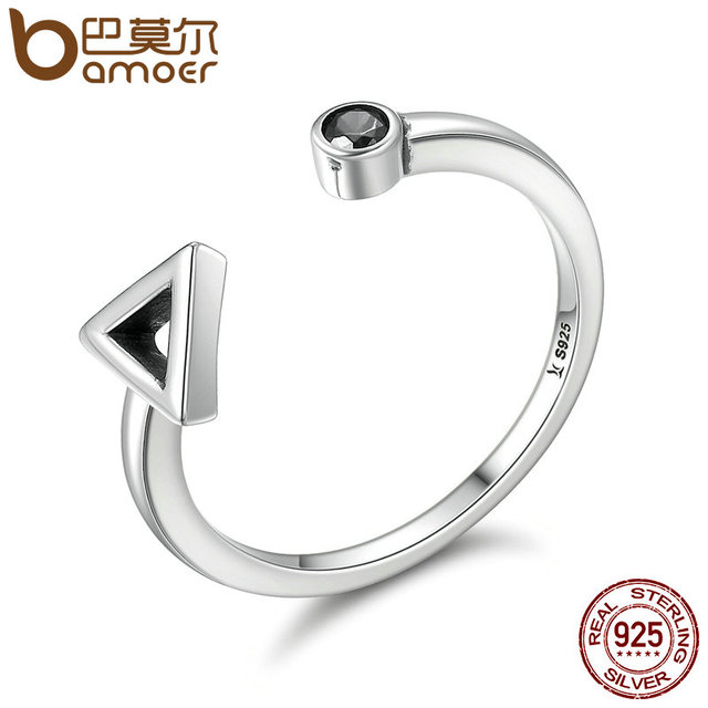 BAMOER Hot Sale 925 Sterling Silver Geometric Round & Triangle Open Finger Rings
