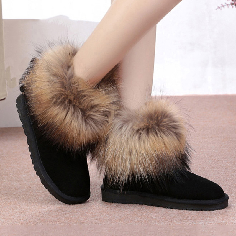 UVWP Fashion Top Quality Raccoon fur Snow Boots Women Boots Genuine Leather Winter Warm Snow Boots