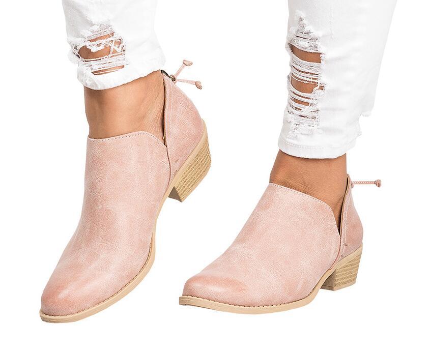 2018 primavera otoño mujer mariposa-Nudo botas Chelsea Slip-On Med tacones altos zapatos de punta puntiaguda Mujer