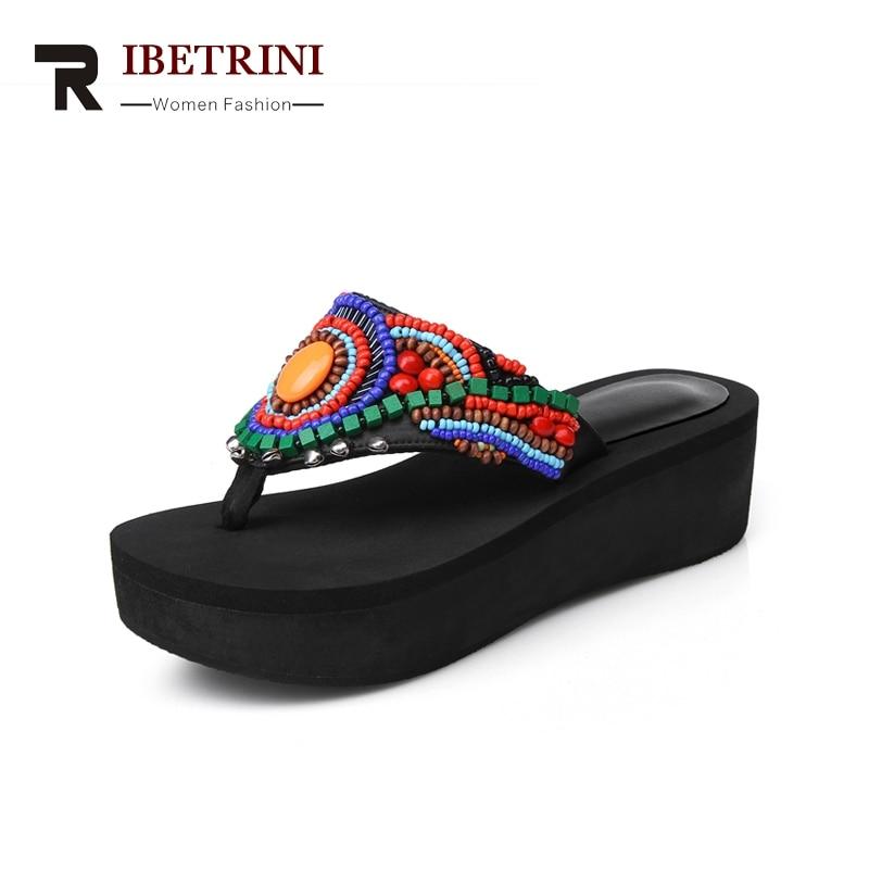 RIBETRINI Nuevas mujeres Cuñas Mezclados Colores Chanclas Plataforma - Zapatos de mujer