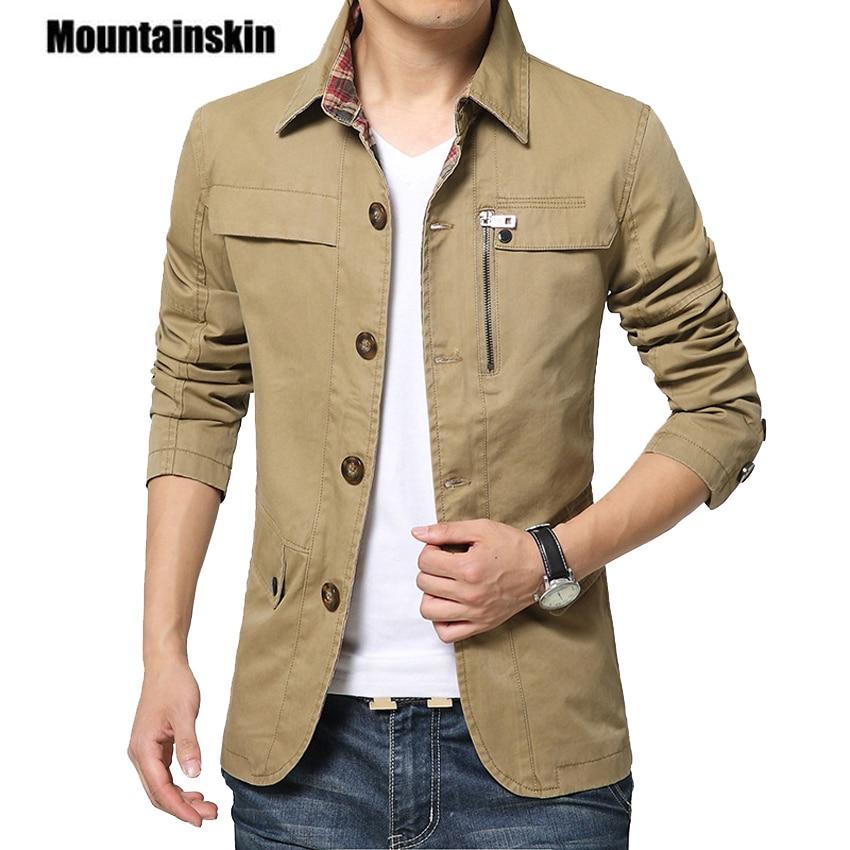 Outerwear Slim Fit Khaki Cotton Mens Jackets  1