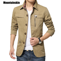 Mountainskin 2017 Men S Jacket Coat 4XL Casual Solid Men Outerwear Slim Fit Khaki Army Cotton