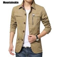 Mountainskin 2018 Для мужчин куртка пальто 4XL Повседневное одноцветное Для мужчин верхняя одежда Slim Fit хаки армии хлопок мужской куртки брендовая одежда SA220
