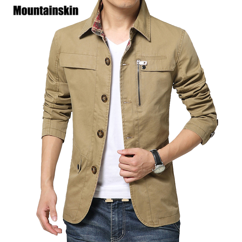 Mountainskin 2020 Men's Jacket Coat 4XL Casual Solid Men Outerwear Slim Fit Khaki Army Cotton Male Jackets Brand Clothing SA220