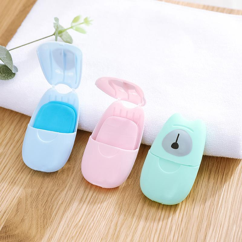 50pcs Disposable Soap Paper With Storage Box Travel Portable Hand Washing Box Scented Slice Sheets Mini Soap Paper