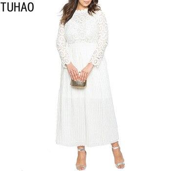 8afe72ea656d08c TUHAO 2019 винтажное кружевное Макси платье для вечеринок женские длинные  платья плюс размер 5XL 4XL 3XL черные белые красные платья вечерние XXFS