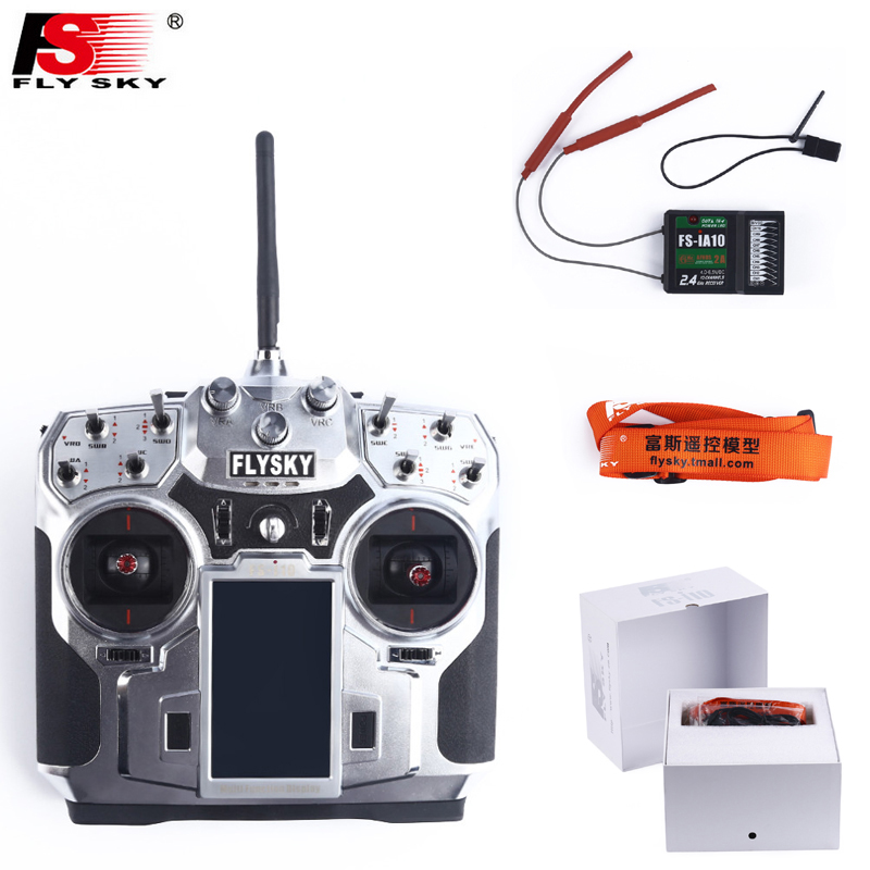 Original Flysky FS-i10 FS I10 2.4ghz 10ch Transmitter and Receiver System + 3.55 LED Screen for DIY RC Helicopter Quadcopter