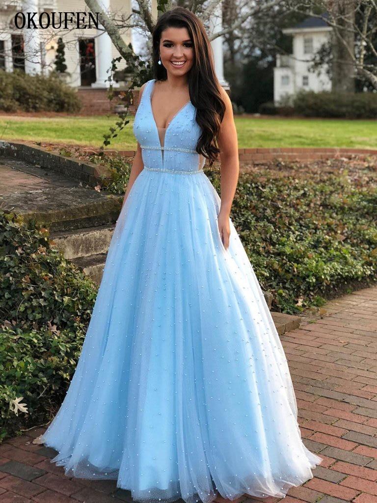 Sky Blue   Prom     Dresses   2019 V-Neck Tulle Full Pearls Sleeveless Formal Evening Party Gowns vestidos de fiesta largos elegantes