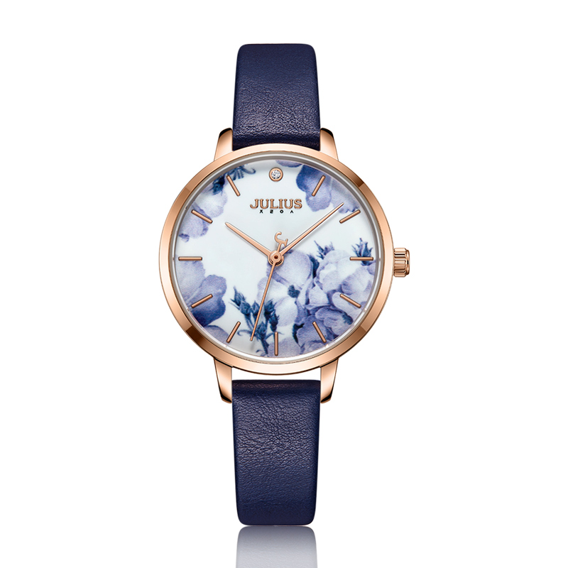 Julius Watch Fashion Elegant Quartz Women Leather Bracelet Watch Flower Dial Design Marque De Luxe Original