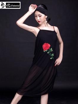 2018 New Brand Latin Dance Dress For Women Black Flamengo Salsa Samba Tango Costume Ballroom Competition Dress Hot Sale A3052