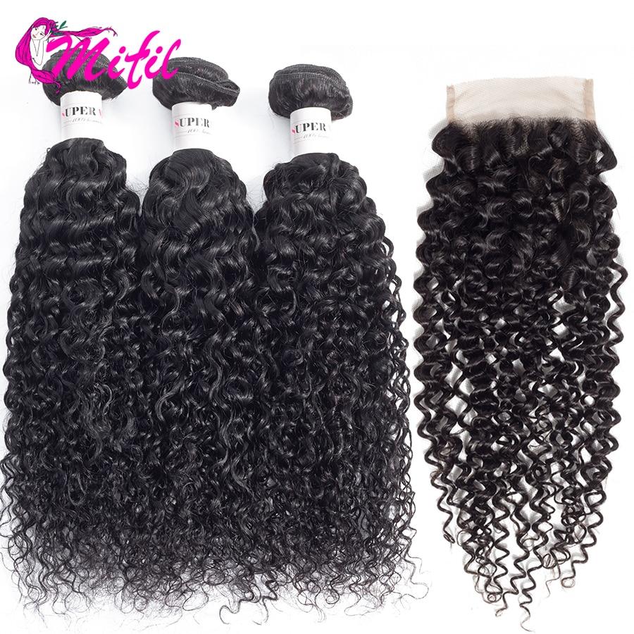 Mifil Ofertas Kinky Curly Bundles 3 PCS Non Remy Indian Human Hair Bundles With Closure 3