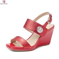Intenzione originale Donne Eleganti Sandali In Pelle di Mucca Popolare Open Toe Sandali Dei Cunei di Moda Rosso Argento Scarpe Donna Taglia 4-8.5