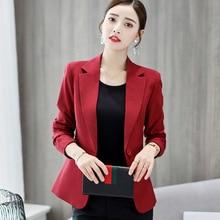 Осень 2019 для женщин корейские пальто с длинными рукавами офисные костюмы плюс размеры Повседневная куртка одна кнопка костюм дамы красн