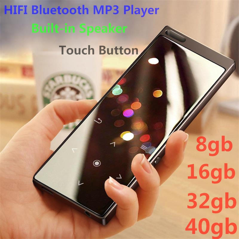 MP3 Player New Arrival Metal Touch Button HIFI Bluetooth Music Player Built-in Speaker 8GB/16GB/32GB/40GB Lossless Sound With FM
