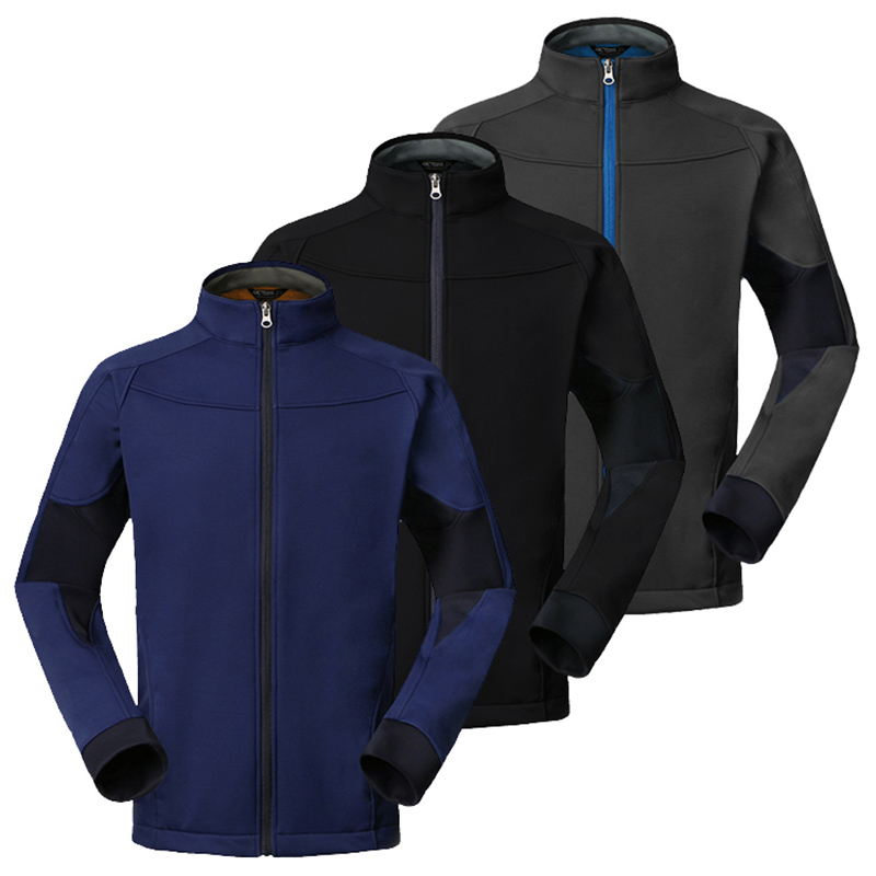 Outdoor Spring Autumn Men's Soft shell Windproof Thermal Jacket Fleece Soft shell Windproof Hooded Jacket Climbing Hiking Jacket