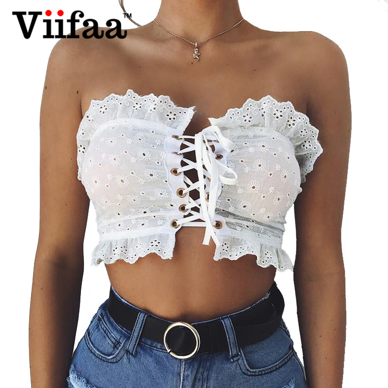 Viifaa Lace Top Summer Sexy Women Lace Up Ruffle Bralette Crop Top 2018 White Shirt Tops Off Shoulder Short Bustier Top