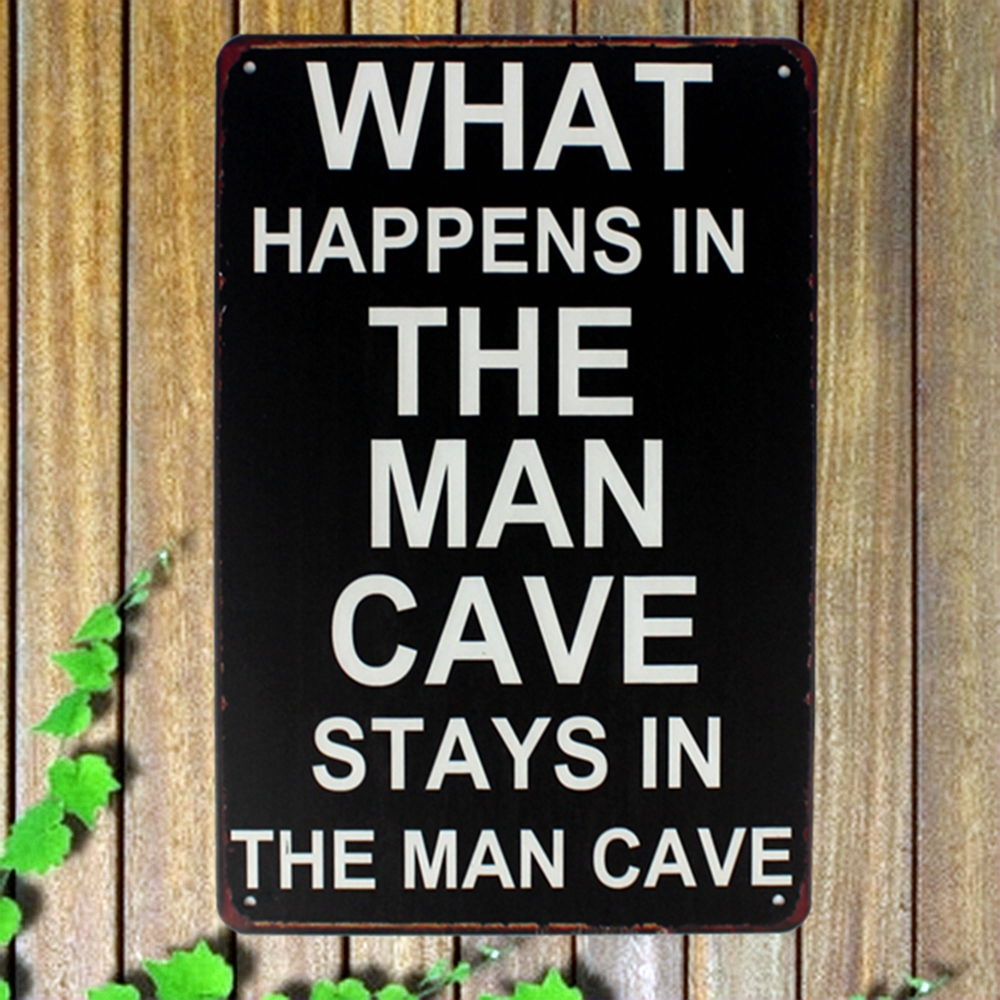 [ Kelly66 ] WHAT HAPPENS IN THE MAN CAVE Metal Plaque Bar Cafe House Wall Signs Painting ...
