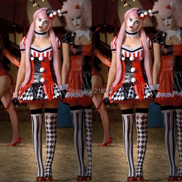 women carnival harley quinn cosplay costume party skirts halloween fantasias women clown suit the clown performance - Girl Clown Halloween Costumes